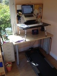 My work station, with my treadmill. A useful tool alongside listening to music for concentration