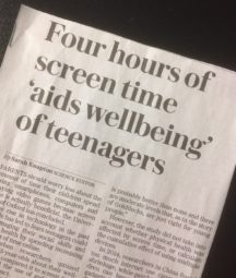 Headline: Four hours of screen time aids wellbeing of teenagers. Is screen time good or bad for you?